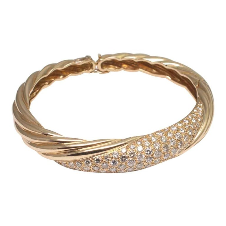 Diamond and 18 Carat Gold French Bangle