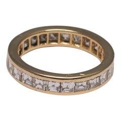 O.J. Perrin Square Diamond 18 Carat Yellow Gold Eternity Ring Circa 1970