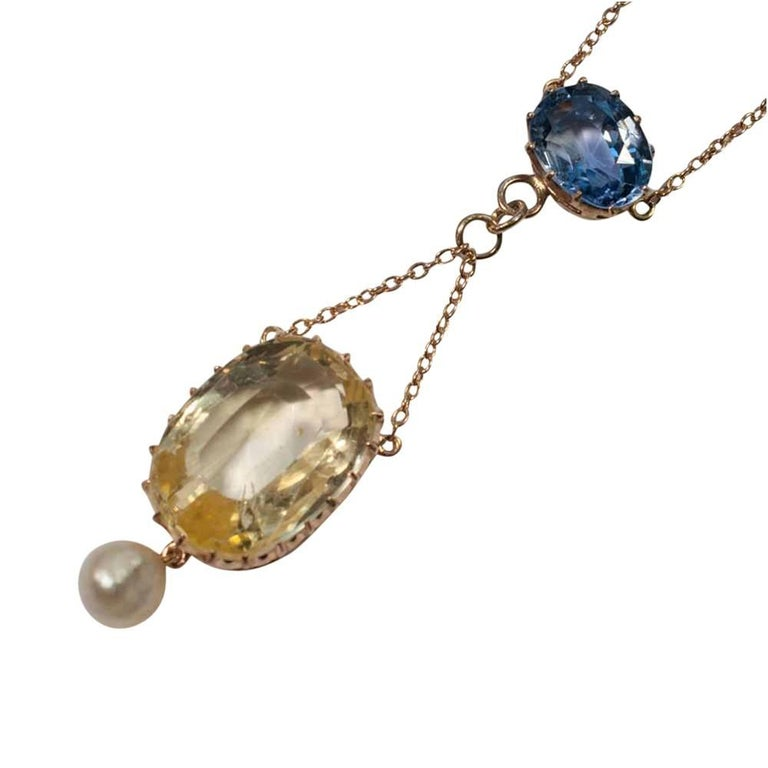 Circa 1910 Edwardian Natural Yellow Blue Sapphire Pearl Gold Pendant Necklace
