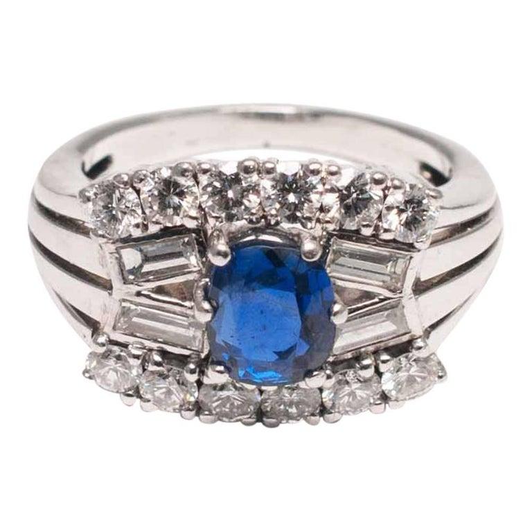 Midcentury Sapphire Diamond Gold Ring 1