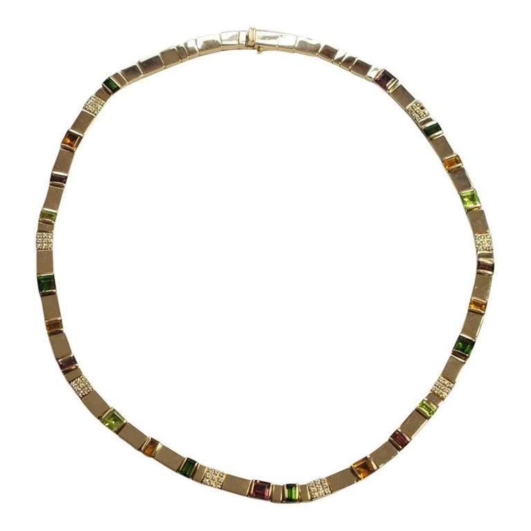 Asprey Gold Diamond Multi Gemstone Necklace