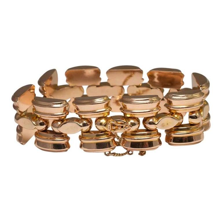 Retro 18 Carat Gold Tank Bracelet