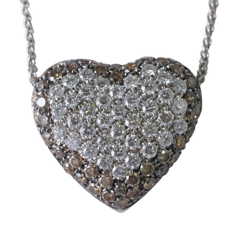 Champagne and White Diamonds Heart Pendant