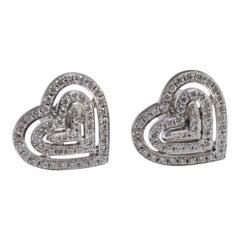 Theo Fennell Diamond Heart 18 Carat Gold Earrings