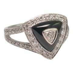 Mauboussin Diamond and Onyx 'Dream and Love' Gold Ring