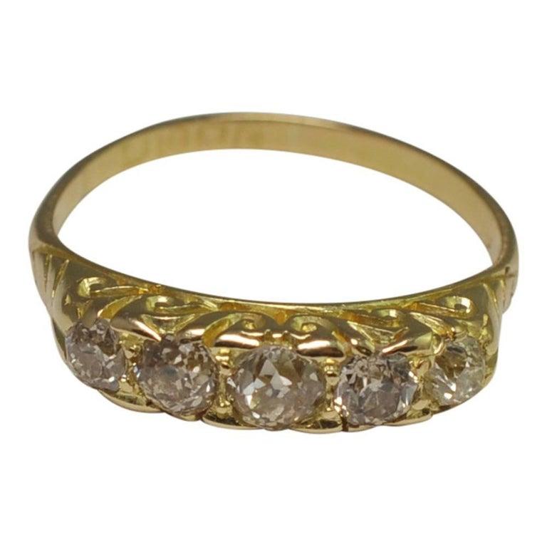 Edwardian Diamond Carved Hoop Gold Ring