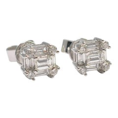 Square Diamond Cluster Gold Earrings