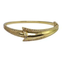 Diamond Gold Ribbon Bangle Bracelet