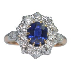 Edwardian No Heat Sapphire Diamond Gold Ring
