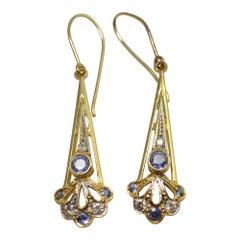 Sapphire Diamond Gold Pendant Earrings