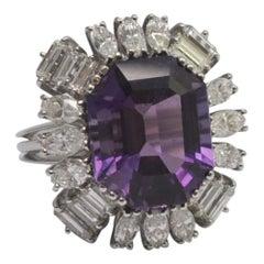 French Amethyst Diamond Platinum Ring