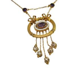 Victorian Amethyst Pearl Enamel Gold Pendant