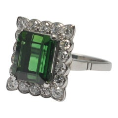 Tourmaline Diamond Platinum Cocktail Ring