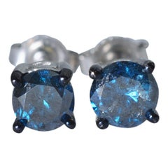 Blue Diamond Gold Stud Earrings