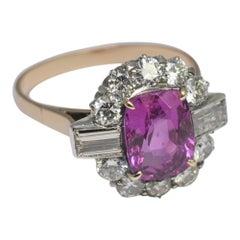 Certified Burmese Pink Sapphire Diamond Gold Ring