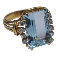 French 18 Carat Gold Aquamarine Diamond Ring