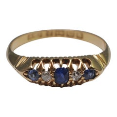 Antique Victorian Sapphire Diamond 18 Carat Gold Ring