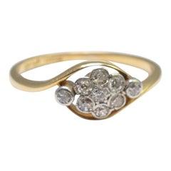 Antique Victorian Diamond 18 Carat Gold Cluster Ring
