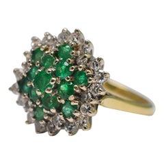 Emerald Diamond 18 Carat Gold Cluster Ring