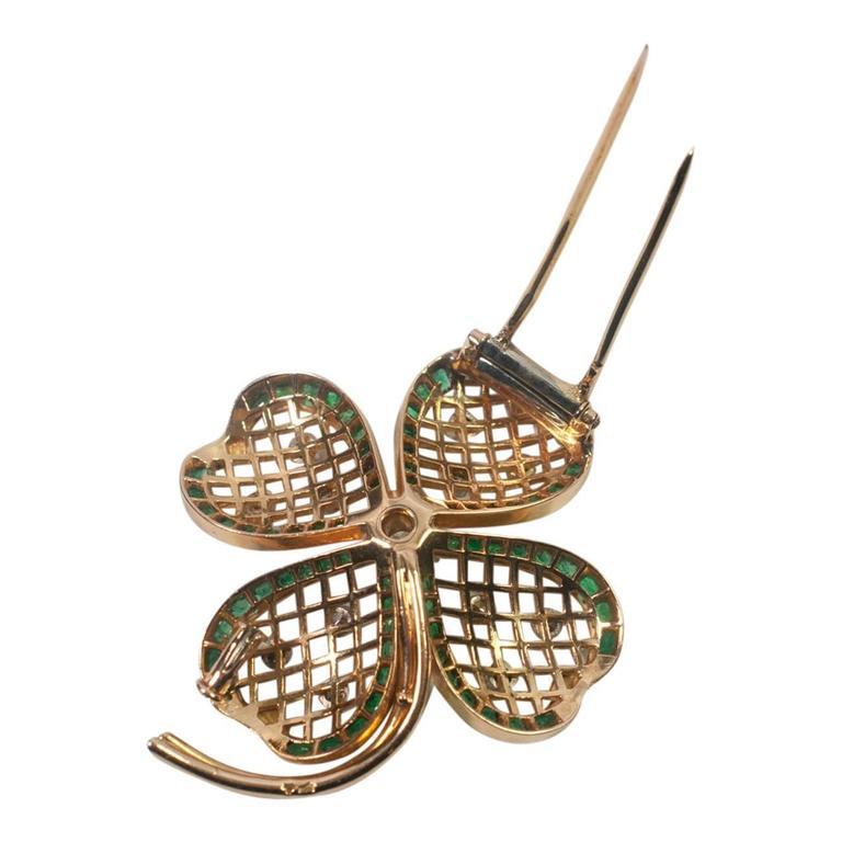 Mauboussin Emerald Diamond Gold Shamrock Brooch 4