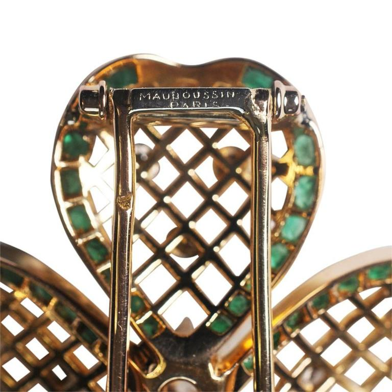 Mauboussin Emerald Diamond Gold Shamrock Brooch 5