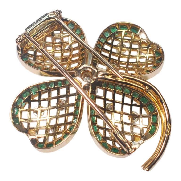 Mauboussin Emerald Diamond Gold Shamrock Brooch 7