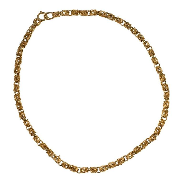 18 carat gold chain link necklace at 1stdibs
