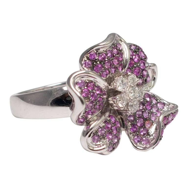 pink sapphire flower cocktail ring at 1stdibs