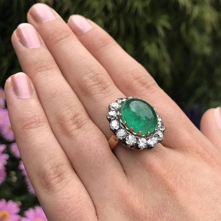 Antique Victorian Cabochon Emerald Diamond Silver Ring For