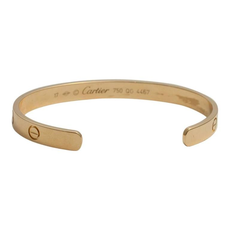 Cartier Yellow Gold Open Love Bangle Bracelet 3