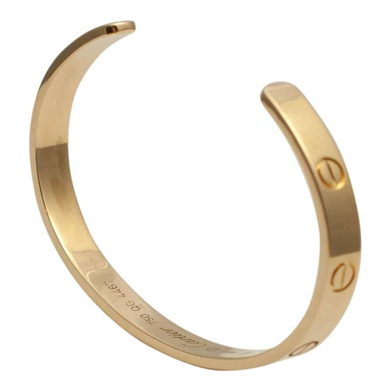 Cartier Yellow Gold Open Love Bangle Bracelet 4