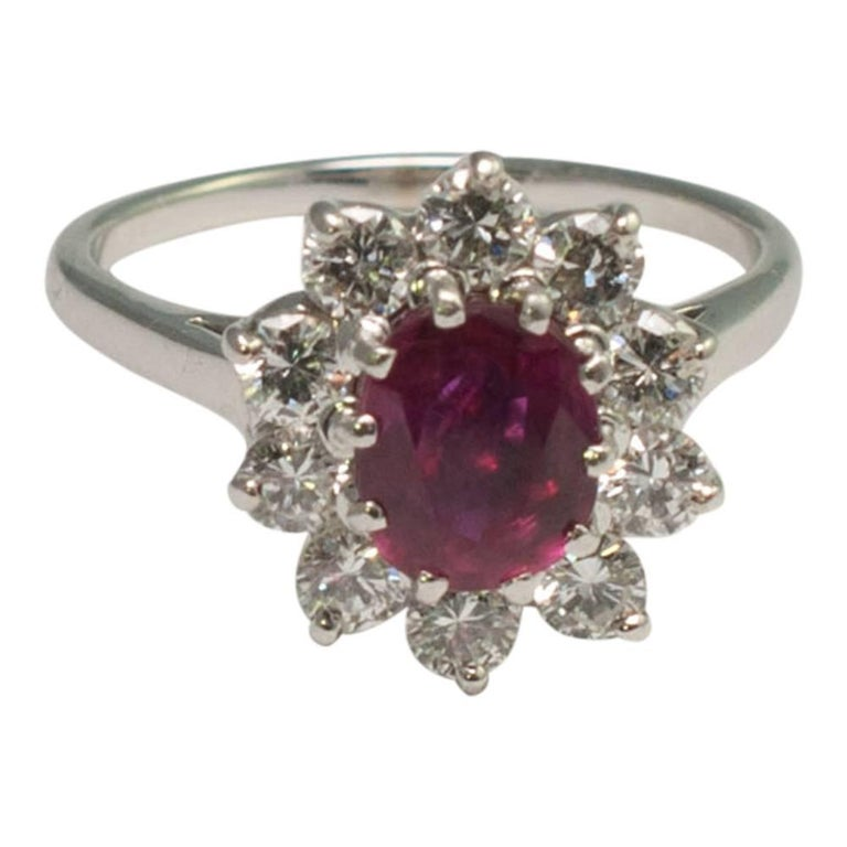 ruby gold cluster ring at 1stdibs