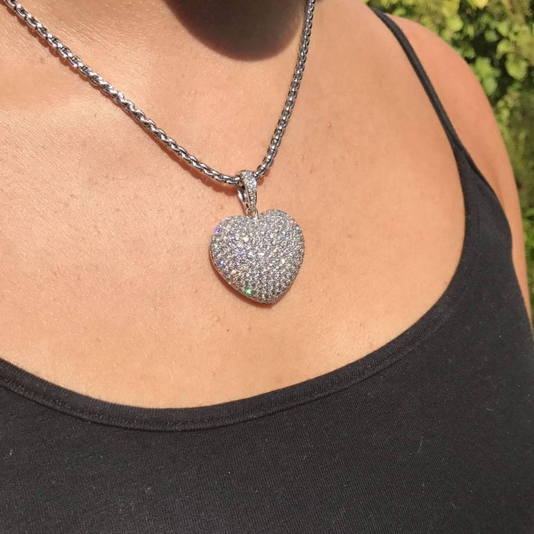Large Diamond Heart Gold Pendant For Sale At 1stdibs