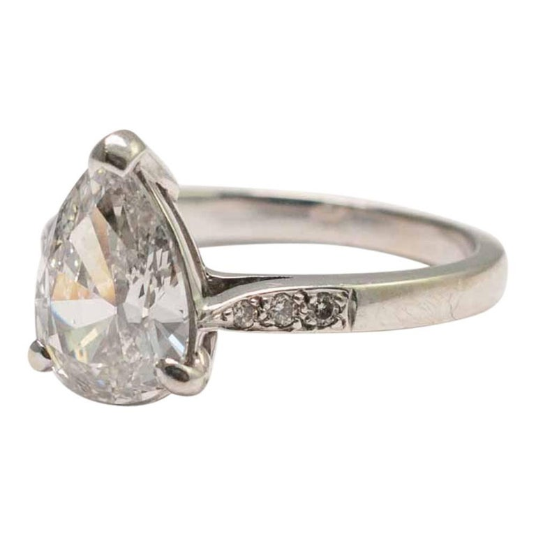 Pear Shaped 2 07 Carat Diamond Solitaire Ring For Sale At