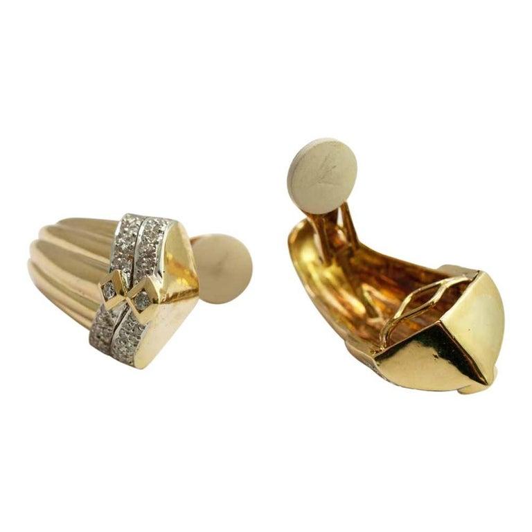 Gold Diamond Clip On Earrings 4