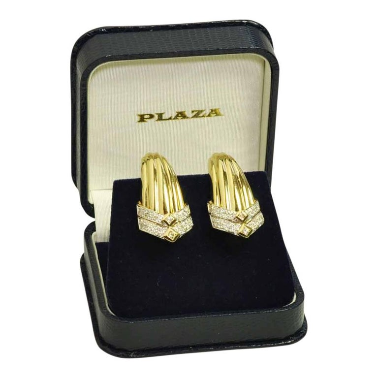 Gold Diamond Clip On Earrings For Sale 5