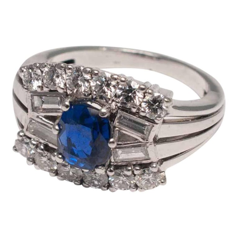 Baguette Cut Midcentury Sapphire Diamond Gold Ring For Sale
