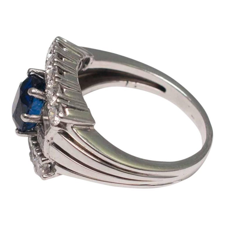 Midcentury Sapphire Diamond Gold Ring 4