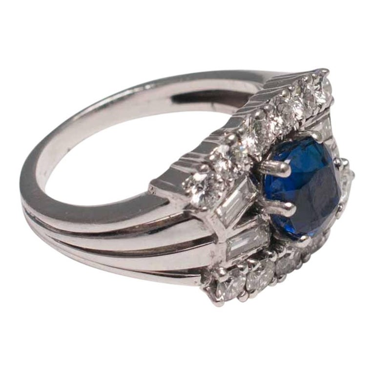 Midcentury Sapphire Diamond Gold Ring For Sale 1