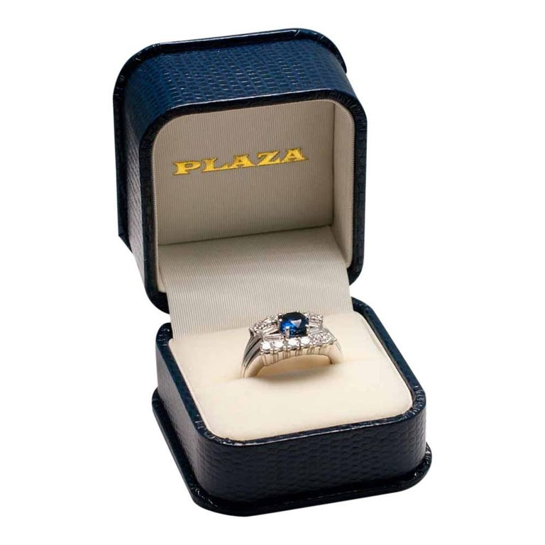 Midcentury Sapphire Diamond Gold Ring 7