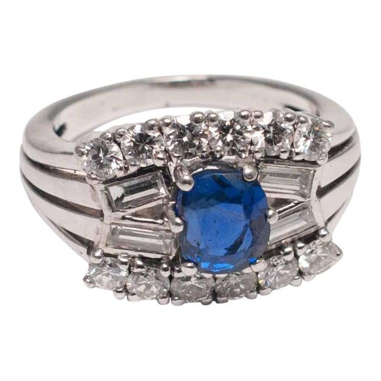Midcentury Sapphire Diamond Gold Ring 9