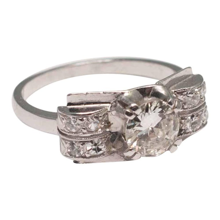 Art deco diamond platinum ring for sale at 1stdibs for What is platinum jewelry made of