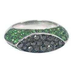 Chatila Tsavorite Garnet Black Diamond Ring