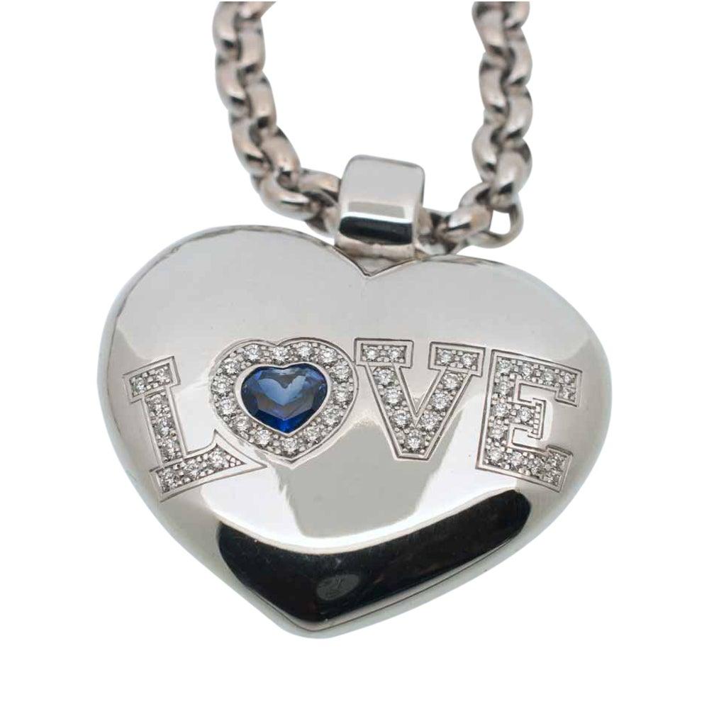 Chopard diamond sapphire gold love pendant at 1stdibs aloadofball Gallery