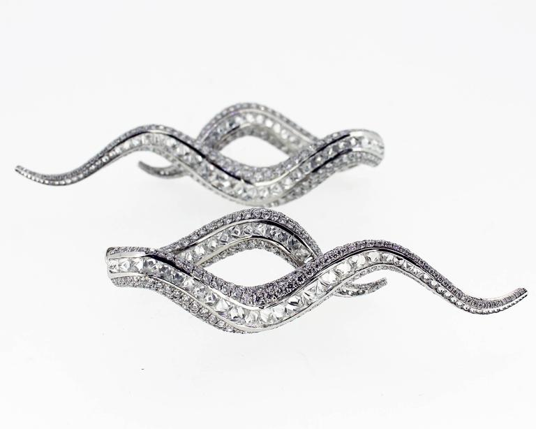 Contemporary Scrolling Diamond White Gold Drop Earrings 2