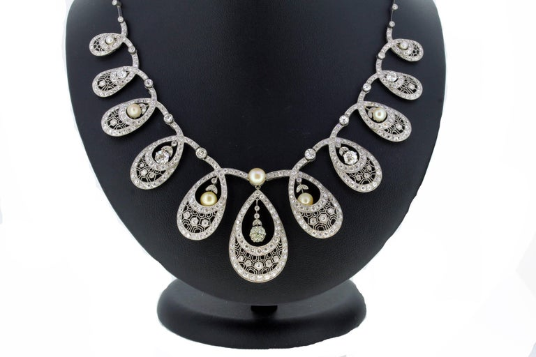 Natural Pearl and Diamond Drop Necklace 2