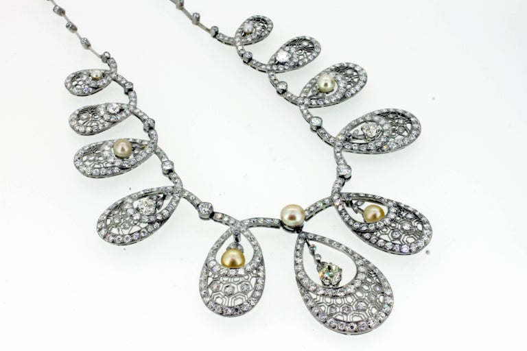 Natural Pearl and Diamond Drop Necklace 5