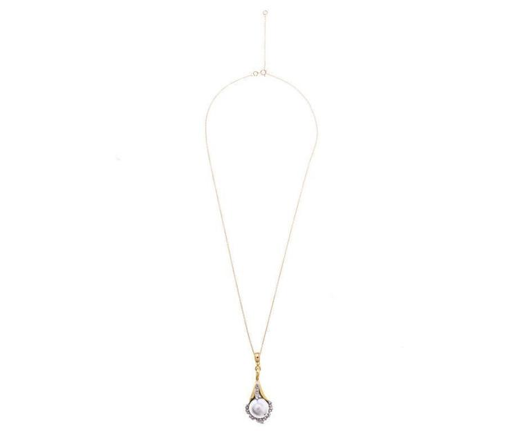 1970s Yellow Gold Pearl and 0.50 Carat Diamond Lily Pendant 3