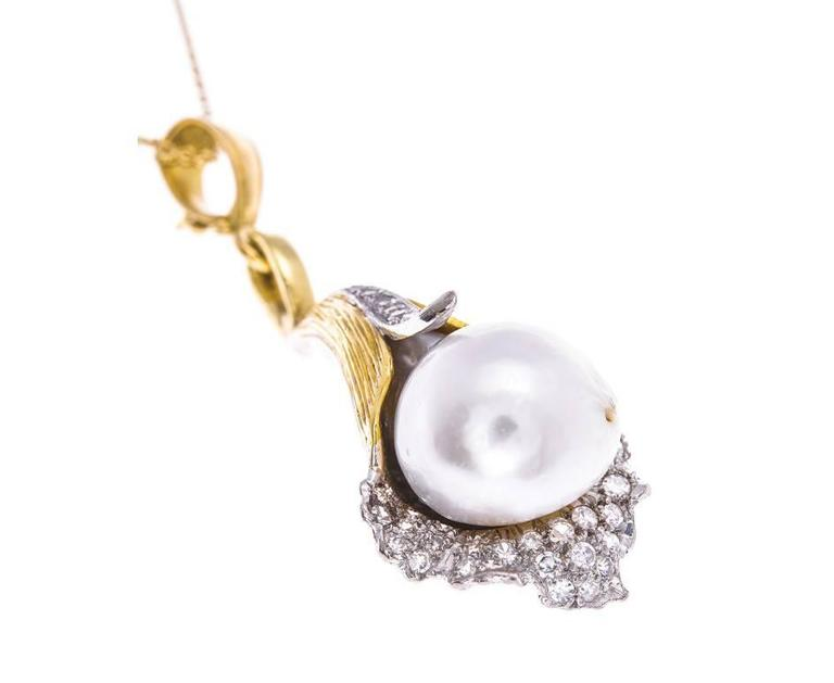 1970s Yellow Gold Pearl and 0.50 Carat Diamond Lily Pendant 2