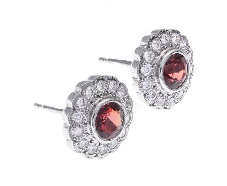 Art Deco 18 Carat White Gold 1.27 Carat Orange Sapphire and Diamond Halo Stud Earrings For Sale